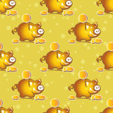 Piggy bank seamless pattern Royalty Free Stock Photos