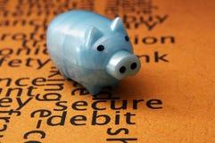 Piggy bank and secure debit concept Stock Photo
