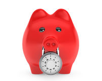 Piggy bank secured with combination lock. On a white background stock illustration