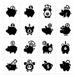 Piggy bank set 16 Royalty Free Stock Photography