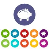 Piggy bank set icons. In different colors isolated on white background Royalty Free Stock Photo
