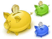 Piggy bank set. Save money concept Royalty Free Stock Images