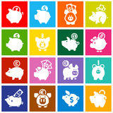 Piggy bank, set white icons on colored squares Royalty Free Stock Photography