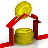 Piggy bank in the shape of a house with euro coins Stock Images