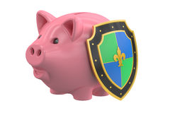 Piggy bank with shield, financial insurance and business. Piggy bank with shield, financial and business stability concept. 3D rendering Stock Images