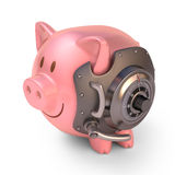 Piggy Bank Shield. Piggy bank secured with steel door and access code. Clipping path included Royalty Free Stock Photography