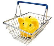 Piggy Bank in Shopping Basket Stock Images