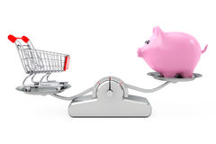 Piggy Bank and Shopping Cart Balancing on a  Simple Weighting Sc. Ale on a white background. 3d Rendering Stock Image