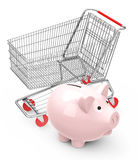 Piggy bank with shopping cart Royalty Free Stock Images