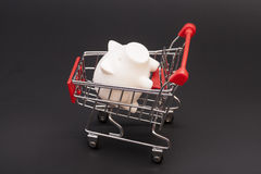 Piggy bank in shopping cart Royalty Free Stock Image