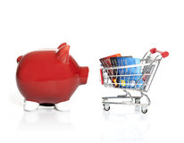 Piggy bank and Shopping Cart Stock Photo