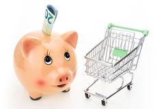 Piggy bank and shopping cart, on white Stock Images