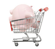 Piggy bank in a shopping trolley Stock Images