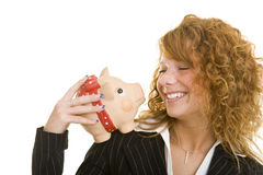 Piggy bank on the shoulder Stock Image