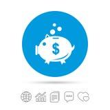 Piggy bank sign icon. Moneybox symbol. Stock Image