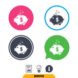 Piggy bank sign icon. Moneybox symbol. Royalty Free Stock Images