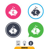 Piggy bank sign icon. Moneybox symbol. Stock Images