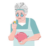 Piggy bank simple vector illustration in flat linework style. Sad senior woman. Granny money with piggy bank Stock Illustration