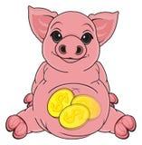 Piggy bank sit Royalty Free Stock Image