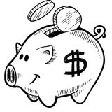 Piggy bank sketch. Doodle style piggy bank with dollar sign and coins in vector format