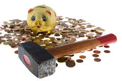 Piggy bank with small change. Reserve at bad times Stock Images