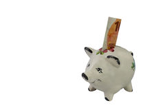 Piggy bank for small saver from left Stock Image