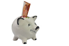 Piggy bank for small saver from right Stock Image