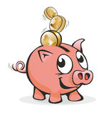 Piggy bank. Smiling piggy bank with lots of coins Royalty Free Stock Image