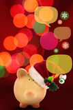 Piggy bank with speech bubbles. Christmas sale Royalty Free Stock Photography