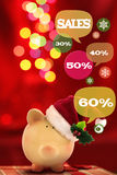 Piggy bank with speech bubbles. Christmas sale. Concept Stock Photos