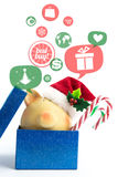 Piggy bank with speech bubbles. Christmas sale concept Royalty Free Stock Photography