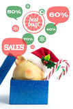 Piggy bank with speech bubbles. Christmas sale concept Stock Photos