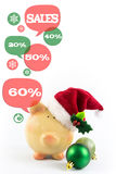 Piggy bank with speech bubbles. Christmas sale Stock Image