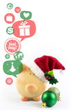 Piggy bank with speech bubbles. Christmas sale Royalty Free Stock Image