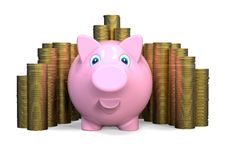 Piggy bank with a stack of coins Stock Photography