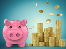 Piggy bank with stack of gold coins Royalty Free Stock Images