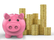Piggy bank with stack of gold coins Stock Photo