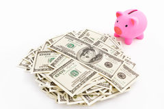 Piggy bank and stack o dollar Royalty Free Stock Photo