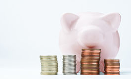 Piggy Bank and Stacked Coins. A pink piggy bank, facing front and looking over some coin stacks.  The coins used are British, but lettering has been removed to Royalty Free Stock Image