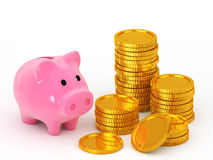Piggy bank and is stacked coins. Piggy bank and coin on white background Royalty Free Stock Image