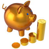 Piggy bank and stacks of coins. 3D render (Hi-Res). Shiny orange Piggy bank near raising stacks of gold coins. Savings concept. 3D render. Isolated on white Stock Photo
