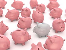 Piggy bank stading out from the crowd Royalty Free Stock Image
