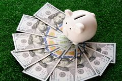 Piggy bank stand over US dollar banknote. Money savings concept. Copy space save coin pile rich finance business investment cash currency wealth financial stock photography