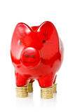 Piggy bank standing on coins Stock Photography
