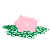 Piggy bank - standing on Dollar. Vector Royalty Free Stock Images