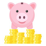 Piggy Bank standing on Stack of Coins Icon Stock Photography