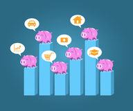 Piggy bank standing on step chart vector for saving money. Planing concept Stock Photos