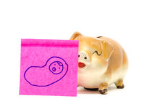 Piggy bank with stick Stock Photos