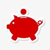 Piggy bank sticker set. Piggy bank icon, vector icon Stock Image