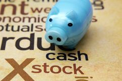 Piggy bank and stock concept Royalty Free Stock Photography